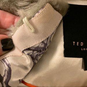Ted Baker London Jackets & Coats - TED BAKER Gray Long Faux Fur Coat Small
